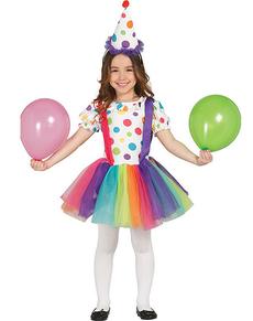 Déguisement de petit clown multicolore pour fille