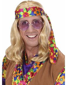 Perruque hippie blonde avec bandeau