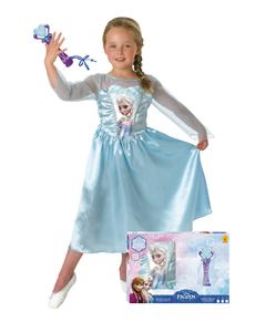 Costume Elsa La reine des Neiges avec micro boîte Vitrine fille